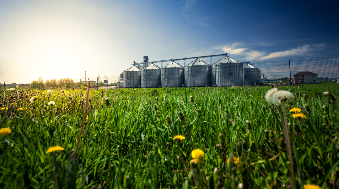 GP8 – Industries et agriculture - photo of grain elevators in meadow at sunset